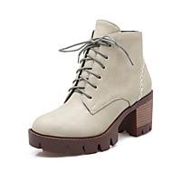 Dames Ronde neus / Modieuze laarzen Kunstleer Buiten / Informeel / Formeel Blokhak Rits / Veters Zwart / Grijs / Beige