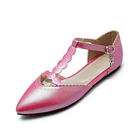 Women's Summer / Fall Ballerina / Pointed Toe PU Office & Career / Casual Flat Heel Buckle / Chain Blue / Pink / Red / White