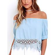 Damen Solide Sexy / Street Schick Ausgehen T-shirt,Trägerlos Sommer Kurzarm Blau Andere Dünn