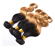 "4pcs / lot 10 ""-26"" ombre human hair extensions T1B / 27 two tone kleur brazilian maagd haar body wave 6a remy haar bundels"
