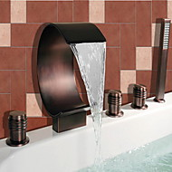 Antique Roman Tub Waterfall / Widespread / Handshower Included with  Ceramic Valve Two Handles Five Holes for  Oil-rubbed Bronze ,