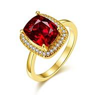 Široké prsteny Barva ozdobného kamene Pozlacené 18K zlatá Oval Shape Módní Elegantní Šperky Svatební Párty Denní 1ks