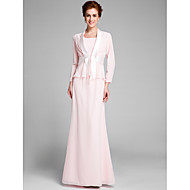 Lanting Bride Trumpet / Mermaid Mother of the Bride Dress Floor-length Long Sleeve Chiffon with Sash / Ribbon
