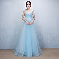 Formal Evening Dress A-line V-neck Sweep / Brush Train Tulle with Appliques / Beading