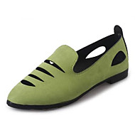 Women's Shoes Suede Flat Heel Hollow Out Comfort / Pointed Toe Flats Casual Black / Green / Gray