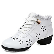 Women's Dance Shoes Sneakers Breathable Leather Hollow Low Heel Black/White/Red