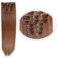 מוצר שיער זול סינתטי 12 # 100g 22inch חום בהיר קליפ 7pcs / סט ב סינתטיים הארכת שיער סינטטי
