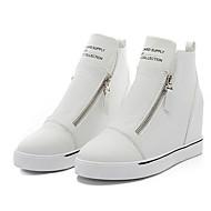 נעלי נשים - סניקרס אופנתיים - דמוי עור - נוחות / מעוגל - שחור / לבן - שטח / ספורט - עקב וודג'
