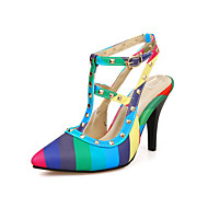 Women's Heels Spring Summer Fall Novelty Slingback Club Shoes Light Up Shoes PU Wedding Casual Party & Evening Stiletto Heel Rivet Buckle