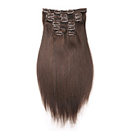 "16 ""-22"" clip in Human Hair Extension 7pcs / 100g rett hår brasilianske menneskehår forlengelse"
