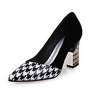 Women's Spring Summer Fall Comfort PU Outdoor Office & Career Dress Chunky Heel Sparkling Glitter Plaid Black and White