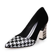 Calçados Femininos-Saltos-Saltos / Conforto / Bico Fino-Salto Grosso-Preto e Branco-Couro Ecológico-Ar-Livre / Escritório & Trabalho /