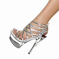 Women's Shoes Leatherette Summer Heels / Platform Sandals Party & Evening Stiletto Heel Buckle Black / Silver