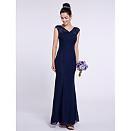 Lanting Bride Ankle-length Chiffon Bridesmaid Dress Trumpet / Mermaid V-neck with Criss Cross
