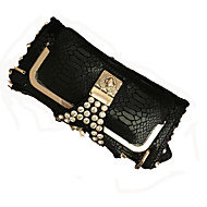 Women Cowhide / Metal Event/Party Evening Bag Gold / Black