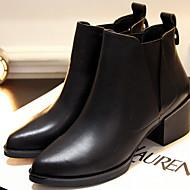 נעלי נשים-מגפיים-עור-מגפי צבא-שחור-קז'ואל-עקב עבה