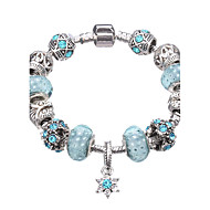 Feminino Meninas´ Pulseiras com Pendentes Pulseiras Strand Cristal Acrílico Strass Prata Chapeada imitação de diamante LigaDurável Moda