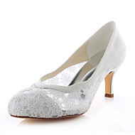Women's Shoes Stretch Satin Stiletto Heel Heels / Round Toe Heels Wedding / Party & Evening / Dress Ivory