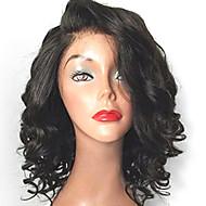 új divat a rövid rakott természetes fekete színű bob göndör csipke első paróka hőálló szintetikus haj paróka Női