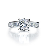 7*7mm 2CT Princess Cut SONA Diamond Ring for Women Ladder Side Paved Sterling Silver Jewelry Engagement Pt950 Stamped