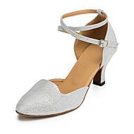 Non Customizable Women's Dance Shoes Flocking Flocking Salsa Sandals / Heels Flared Heel Beginner / Indoor Silver