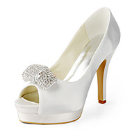 Women's Shoes Silk Stiletto Heel Heels / Peep Toe Heels Wedding / Party & Evening / Dress White