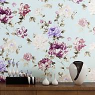 Fleur Fond d'écran pour la maison Contemporain Revêtement , Intissé Matériel adhésif requis fond d'écran , Chambre Wallcovering