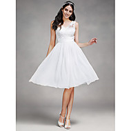 Lanting Bride A-line Wedding Dress Knee-length V-neck Chiffon / Tulle with Appliques