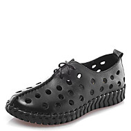 Women's Shoes Cowhide Low Heel Round Toe Hollow Casual Black / Red / White