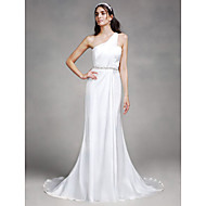 Lanting Bride Sheath / Column Wedding Dress Court Train One Shoulder Satin with Beading