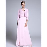 여성 숄 볼레로 3/4 길이 소매 태피터 핑크 웨딩 / 파티/이브닝 넓은 칼라 39cm 구슬장식 오픈 프론트