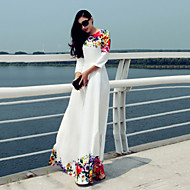 Women's Holiday / Party/Cocktail Simple Swing Dress,Floral Round Neck Maxi ¾ Sleeve White Polyester Fall