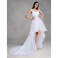 Lanting Bride A-line Wedding Dress Asymmetrical Sweetheart Organza with Crystal