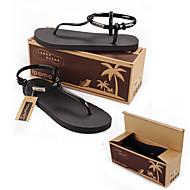 נעלי נשים-סנדלים-PVC-רצועת T-שחור / ורוד / Almond-קז'ואל-עקב שטוח