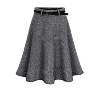 Women's Solid High Rise Pleated Fashion All Match Woolen Skirts,Casual / Day / Street chic Above Knee