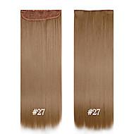 קליפ סינטטי 24inch שיער חלק סיבי תוספות שיער # 27 60 סנטימטרים 120g 5 קליפים קליפ סינטטי הארוך wowan שיער