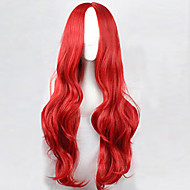The new European and American High-Temperature Wire Carved Red Long Curly Wig 80CM