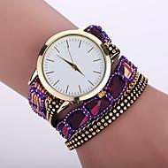 Women's Bohemian Style Fabric Band White Case Analog Quartz Bracelet Fashion Watch