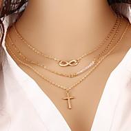 Femme Pendentif de collier Colliers chaînes Collier multi rangs Forme de Croix Infini Perle Plaqué or Mode Elegant Classique Multicouches