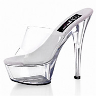 レディース-ウェディング アウトドア パーティー-ポリ塩化ビニール-スティレットヒール クリスタルヒール 半透明ヒール-クラブシューズ 靴を点灯-ヒール-ホワイト