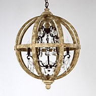 5 Heads Amercian Countryside Industrial Wine Barrel Pendant Lamp Wooden with Crystal Decorate Chandeiler Light