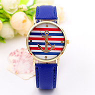 Women/Lady's Leather Band Red/White/Blue Stripe Anchor Case Analog Quartz Fashion Dress Casual Watch