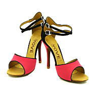 Customizable Women's Dance Shoes Latin/Salsa Flocking Customized Heel Yellow/Red