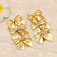 12pçs suprimentos alegre cana-de-flor ornamento banquete de baile de Natal decoração da árvore de estilo laço ouro