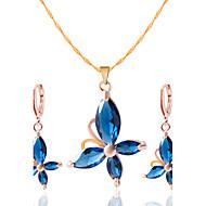 Smycken Dekorativa Halsband Örhängen Halsband / örhängen Bröllop Party Dagligen Casual 1set Dam Svart Röd Blå Bröllopsgåvor