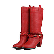Women's Boots Spring / Fall / Winter Fashion Boots Leatherette Casual Chunky Heel Others Black / Brown / Red / Gray