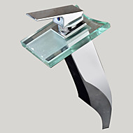 Waterfall Bathroom Sink Faucet with Glass Spout Faucet (Tall)