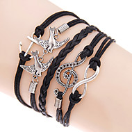 Retro Style Multilayer Blue Anchor Love Birds Weave Wrap Bracelet