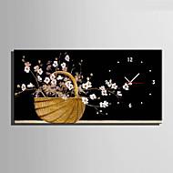 Moderno/Contemporâneo Florais/Botânicos Relógio de parede,Rectângular Tela 30 x 60cm(12inchx24inch)x1pcs/ 40 x 80cm(16inchx32inch)x1pcs