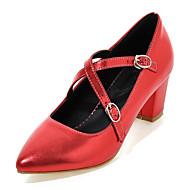 נעלי נשים-עקבים-דמוי עור-עקבים / נעלי בובה (מרי ג'יין) / שפיץ-ירוק / ורוד / אדום / כסוף / זהב-משרד ועבודה / שמלה / מסיבה וערב-עקב עבה
